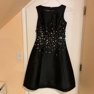 Black Teri Jon dress with appliqués